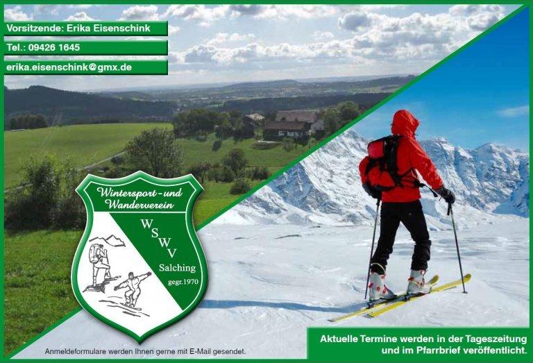 Logo des Wintersport- und Wanderverein Salching und kurze Information: Vorsitzende Erika Eisenschink
