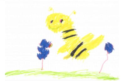 Biene gemalt von einem Kind