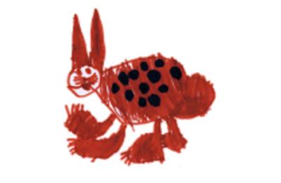 Hase gemalt von einem Kind