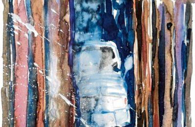 Das Monatsbild ist in einem Fenster der Bücherei ausgestellt. Foto: Heinz Prediger